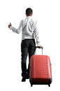Businessman hitch hiking back view of over white background Stock Images