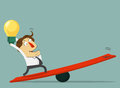 Businessman hold the bulb of idea and stand on the lever. The way to success with his idea. Cartoon character Royalty Free Stock Photo