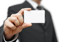 Businessman hold business card contact us concept Royalty Free Stock Images