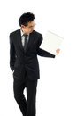 Businessman holding blank book for editing isolated over white background Stock Images