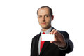 Businessman holding a blank business card Stock Photography