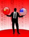 Businessman holding china and united states internet flag buttons original vector illustration Royalty Free Stock Images
