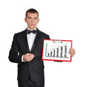 Businessman holding clipboard Royalty Free Stock Images
