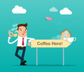 """Businessman holding a cup of coffee stands next to a wooden sign with text `Coffee here"""". Isolated vector illustration"""