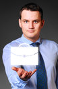 Businessman is holding empty space caucasian in hands Royalty Free Stock Images