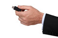 Businessman holding a flash drive usb driver Stock Image