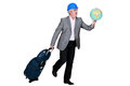 Businessman holding a globe construction and suitcase Royalty Free Stock Photography