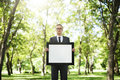 Businessman Holding Picture Frame Copy Space Concept Royalty Free Stock Photo