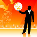 Businessman holding planet Royalty Free Stock Photo