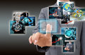 Businessman holding reaching images streaming in hands financia financial and technologies concepts Stock Images