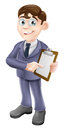 Businessman holding survey or clipboard a cartoon illustration of a Royalty Free Stock Images