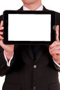 Businessman holding tablet with blank white screen Stock Photo