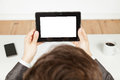 Businessman holding a tablet whitespace Stock Photo