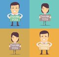 Businessman holding thank you sign vector illustration of a cartoon Stock Photography