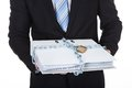 Businessman holding a top secret file