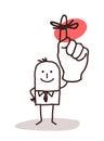 Businessman Holding Up Finger with Reminder Ribbon