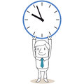 Businessman holding up huge clock vector illustration of a monochrome cartoon character Royalty Free Stock Photos