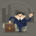Businessman holds a suitcase with money illustration format eps Royalty Free Stock Image