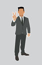 Businessman holds two fingers black web icon illustration Stock Photography