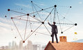 Businessman on house roof presenting networking and connection c