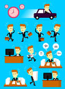 Businessman in a hurry busy day cartoon character with different actions Royalty Free Stock Photography