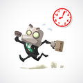 Businessman hurry running in rush hour business concept Stock Photos