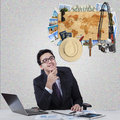 Businessman imagine famous vacation place Royalty Free Stock Photo