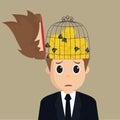 Businessman imprisoned idea vector eps Stock Photos