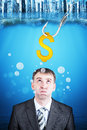 Businessman with inflated cheeks under water hook and gold dollar sign Stock Images