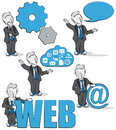 Businessman and internet cartoon of a with concepts Stock Images