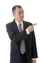 Businessman introduce mature something closeup portrait Stock Photography