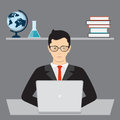 Businessman and isometric laptop
