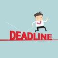 Businessman jump over deadline