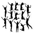 Businessman Jumping In Air Silhouettes, art vector design Royalty Free Stock Photo