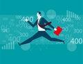 Businessman Jumping financial background