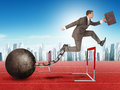 Businessman jumping over barrier with suitcase and iron ballast treadmill Stock Image