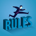 Businessman Jumping Over The Rules