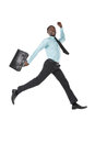 Businessman jumping portrait of young in air with briefcase Stock Image