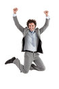 Businessman jumping smiling caucasian for joy Stock Photo