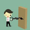 Businessman with key and door Royalty Free Stock Photo