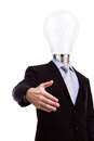 Businessman with lamp head have got an idea on white background Stock Photography