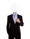 Businessman with lamp head have got an idea on white background Royalty Free Stock Image