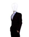 Businessman with lamp head have got an idea on white background Royalty Free Stock Photography