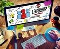 Businessman leadership management digital communication concept manage Royalty Free Stock Photo