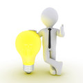 Businessman leaning on light bulb d a beside him Royalty Free Stock Image