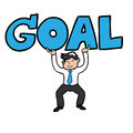 Businessman lifting goal Royalty Free Stock Photo