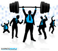 Businessman lifting under extreme pressure illustration of a group of business people cheering on their weightlifting colleague Royalty Free Stock Photos