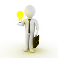 Businessman with light bulb d a on his hand Stock Photography