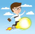 Businessman on light bulb rocket flying to success, business concept vector