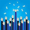 Businessman long hand grab money in the air Royalty Free Stock Photo